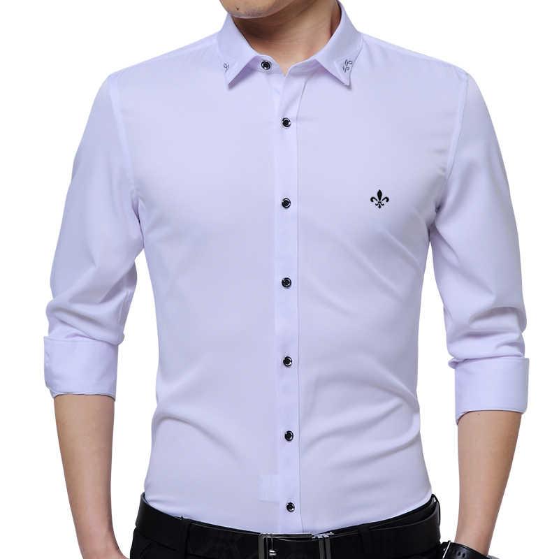 Dudalina 2020 Neue Männliche Männer Shirts Männlichen Langarm Solid Farbe Baumwolle Slim Fit herren Social Business Hohe Qualität casual Hemd