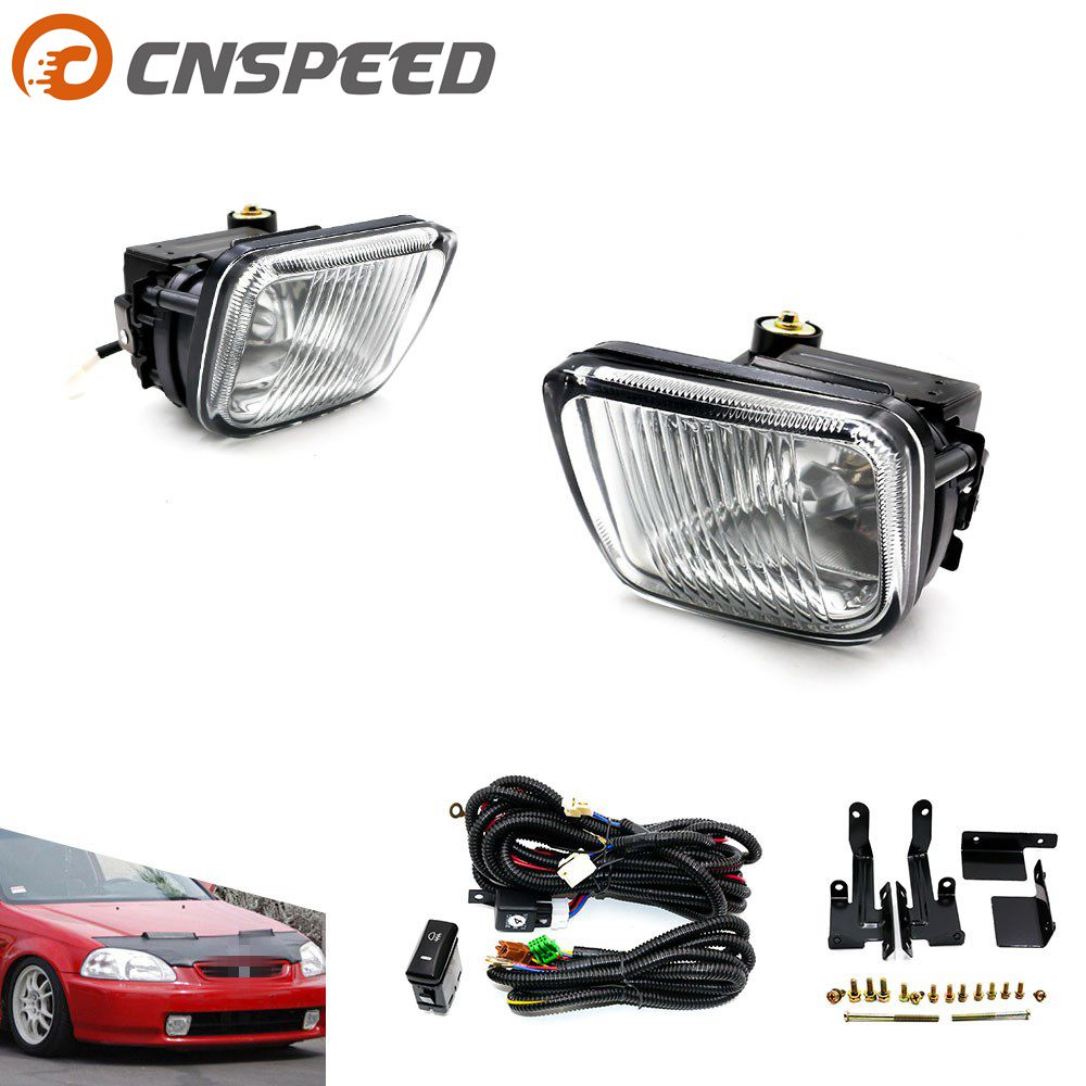 цена на CNSPEED Fog light Fog lamp For HONDA CIVIC 1996-1998 2/3/4DR Yellow/Clear Fog Lights Driving Lamp with Switch YC100477