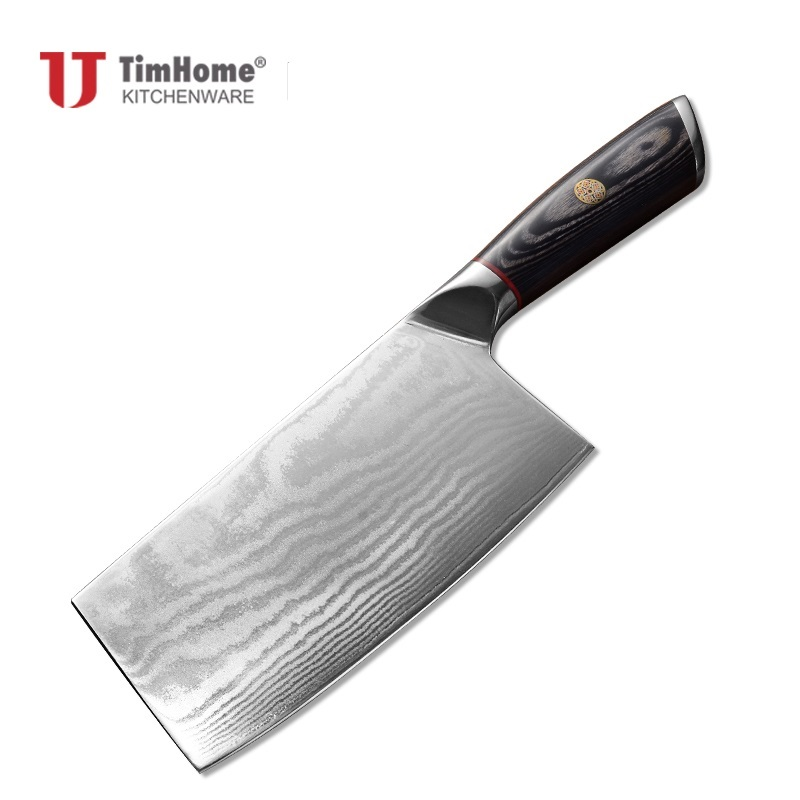 Timhome new arrival 67layers Damascus Kitchen Cleaver Knife whit good quality wooden handle