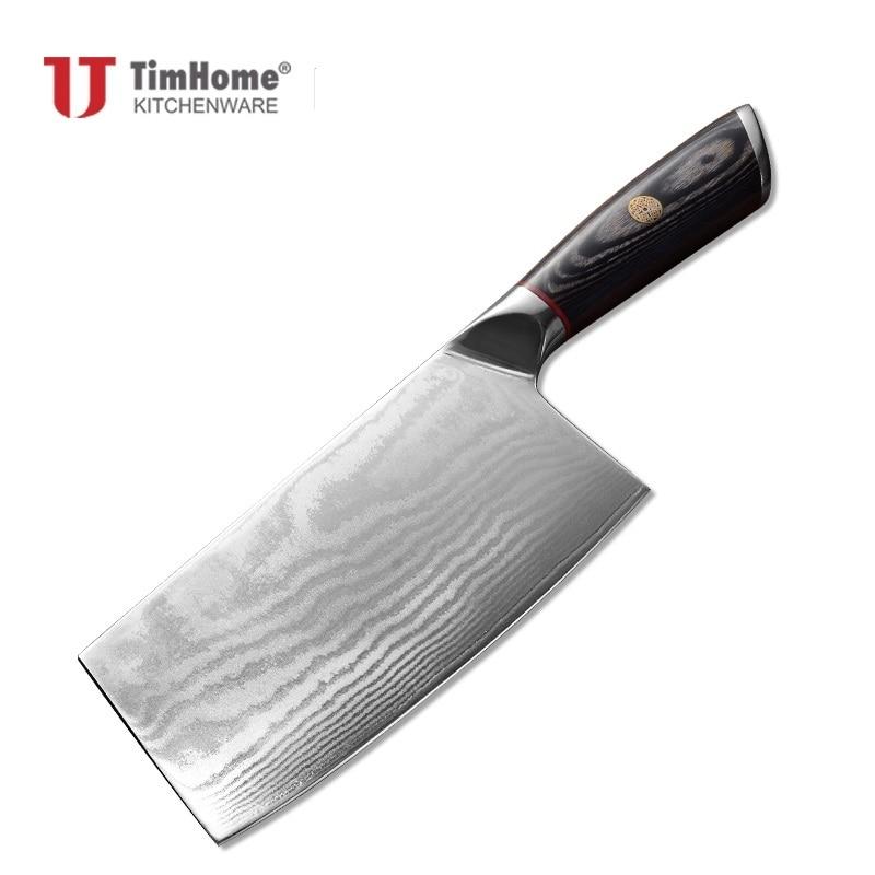 Timhome nouveauté 67 couches Damas Cuisine Couperet Couteau de pentecôte bonne qualité manche en bois