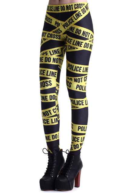2014 spring summer womens blackmilk fashion girls yellow police line galaxy 3D print fitness tights disco pencil pants