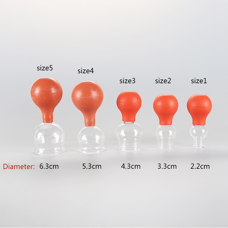 2 pieces High quality Family Body Massage Rubber and glass Vacuum Cupping Cups Health Care and Beauty