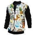 2016 spring  mens fashion  lovely  printing coat  patchwork Rib sleeve men O-neck  mens coat PH05