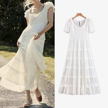 summer women dress 2019 new solid white short sleeve o neck lace hollow out patchwork A line ladies dresses mid-calf vestidos new spring summer women blouse short sleeve deep v neck hollow out lace up ladies dresses solid white casual cotton vestidos