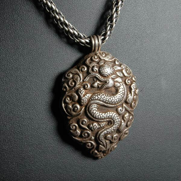 Handcrafted Nepalese 925 Silver Dragon Pendant Necklace 925 Sterling Sheep Pendant Necklace Bohemia Good Luck Pendant NecklaceHandcrafted Nepalese 925 Silver Dragon Pendant Necklace 925 Sterling Sheep Pendant Necklace Bohemia Good Luck Pendant Necklace