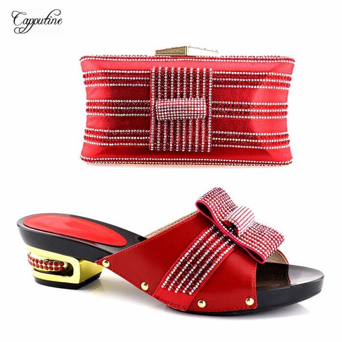 Очаровательные свадебные/вечерние красный туфли-лодочки с вечерняя сумочка комплект YH2018-04 в красный, высота каблука 5,3 см, 5 цветов