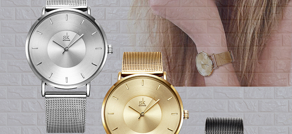 Shengke Fashion Black Women Watches 17 High Quality Ultra thin Quartz Watch Woman Elegant Dress Ladies Watch Montre Femme SK 23