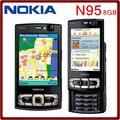 Original n95 8 gb de armazenamento câmera de 5mp desbloqueado nokia n95 8 gb telefone celular frete grátis um ano de garantia
