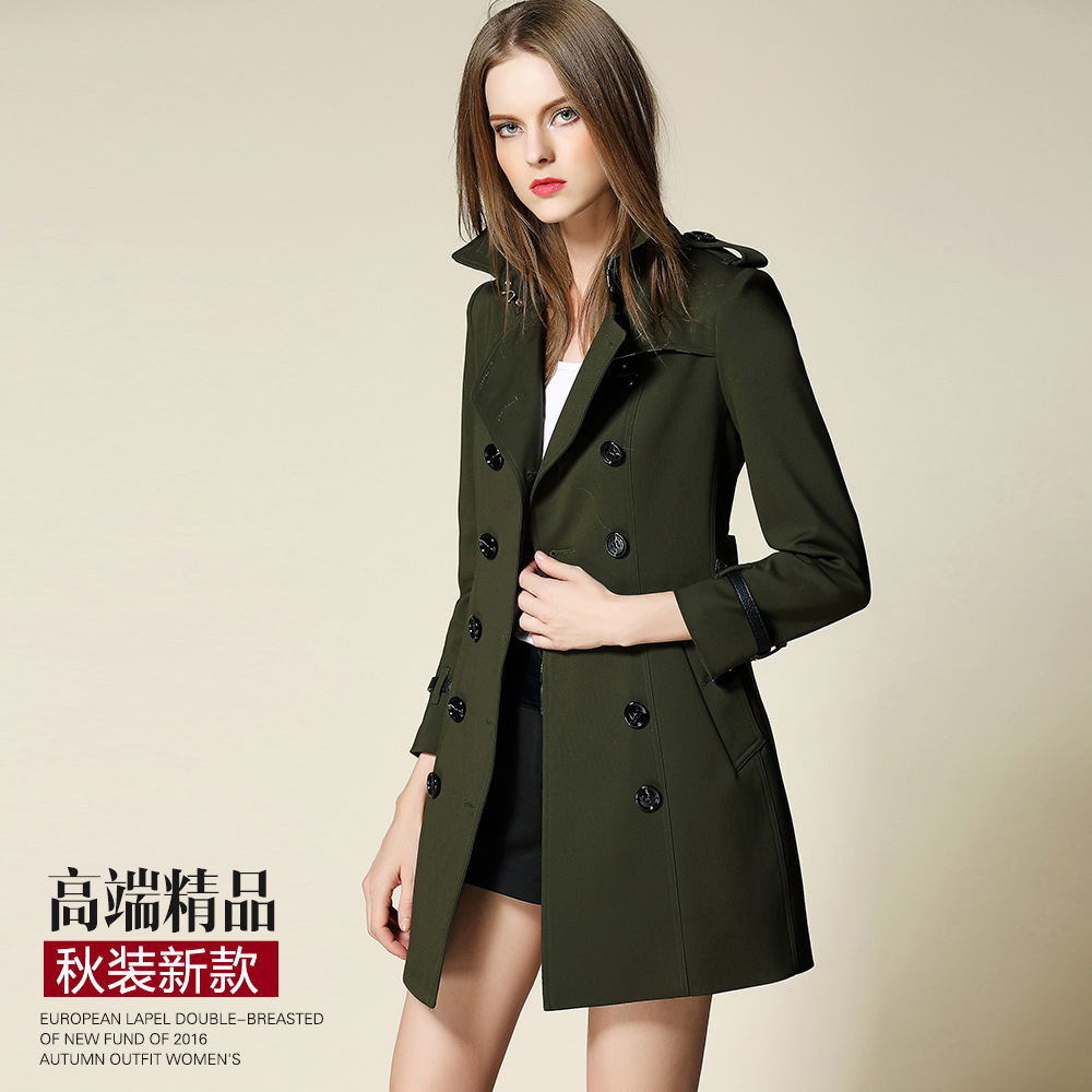 2017 New spring Autumn Trench Coat For Women Double Breasted Trench Coat Long Sashes army green thin slim female windbreak army green trench coat with drawstring waist