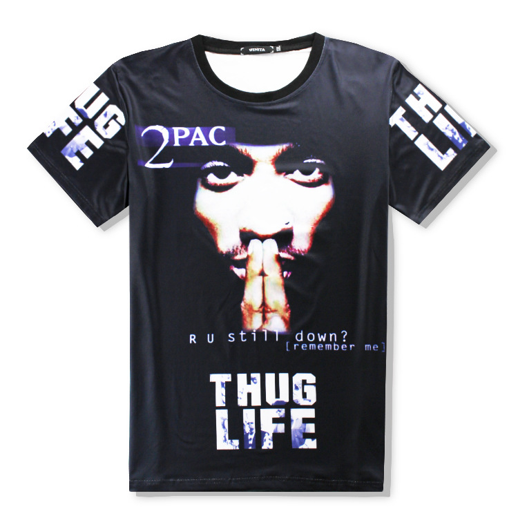US $13 99 |Rap godfather 2 pac tupac Cotton Print 3d t shirt men/woman  Casual hip hop Tops plus size S XXL Free shipping Cos 2pac-in Movie & TV