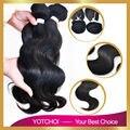 Yotchoi продукты волос бразильский волна девственница теле 3 шт./лот 100% человеческих переплетения бразильские ткать пучки волна