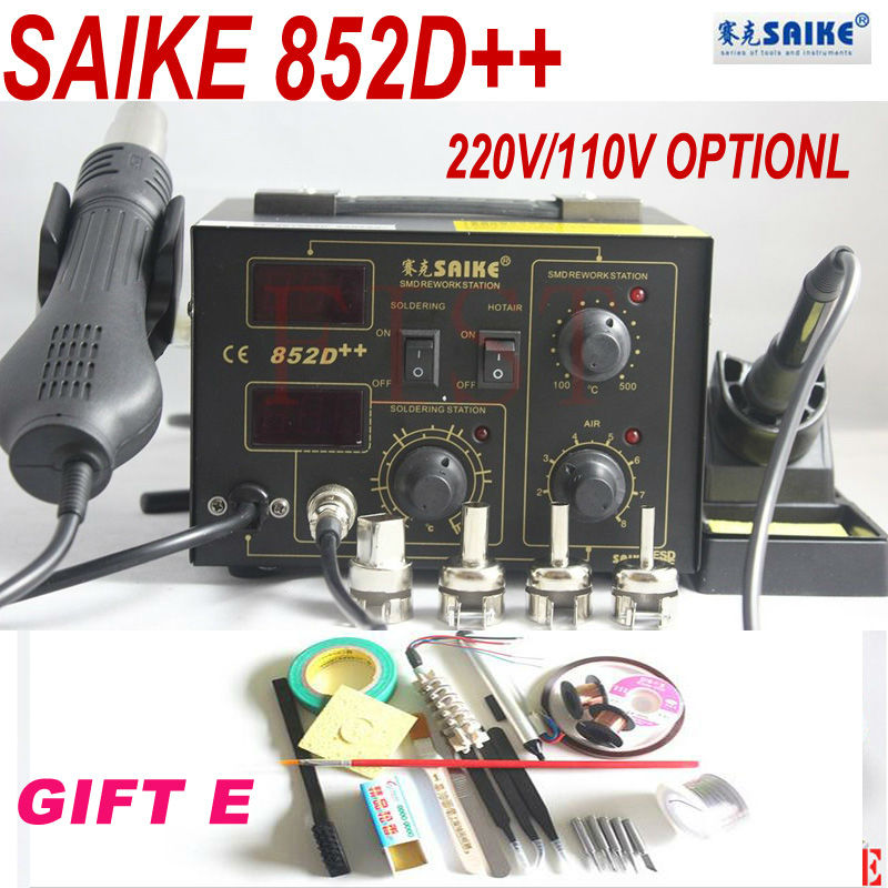 Saike 852D + + station de reprise fer À Souder Chaud Station de Reprise D'air Pistolet À Air chaud 2in1 220 V ou 110 V avec cadeau kit E