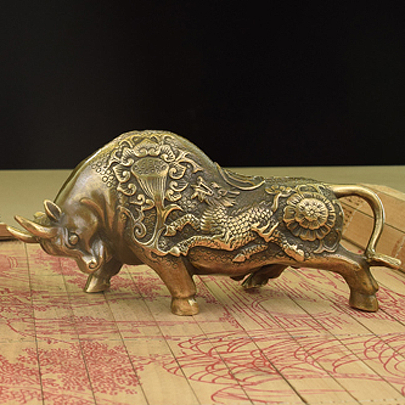 China brass Bronze fengshui wealth Bull OX Statue Metal crafts family decorations giftsChina brass Bronze fengshui wealth Bull OX Statue Metal crafts family decorations gifts
