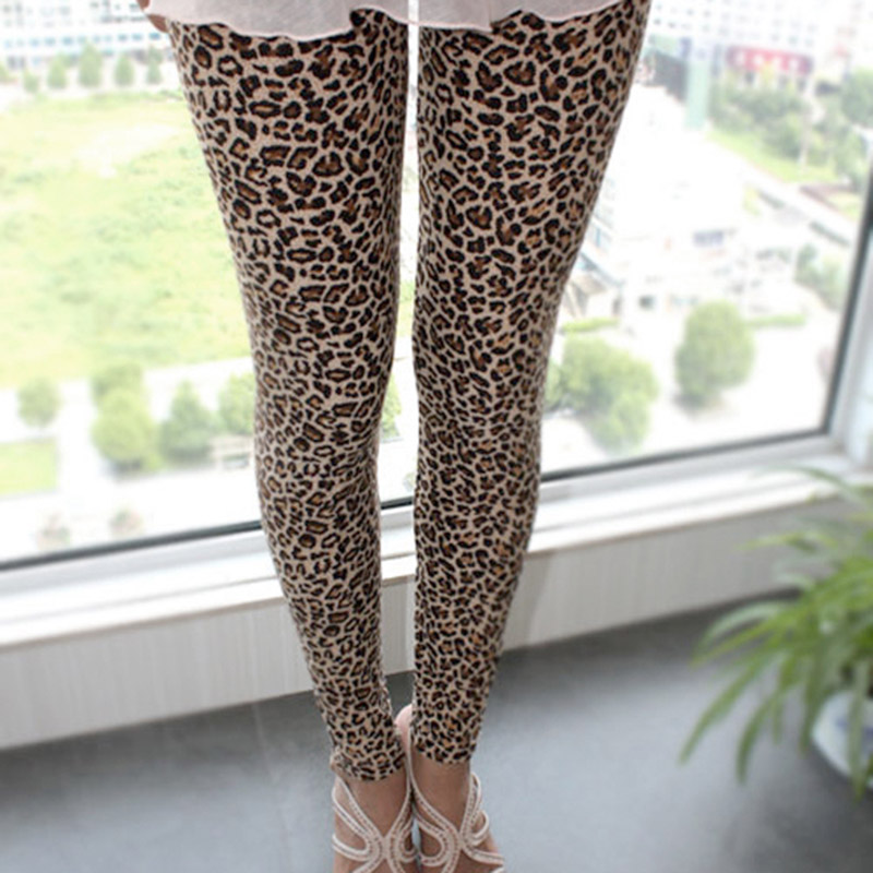 Stylish Sexy Women Girls Leopard Stretch   Leggings   Ninth Pants 88 QL Sale
