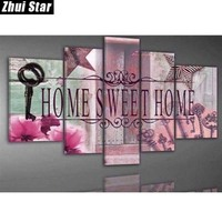Zhui Star 5D DIY Full Square Diamond Painting Home Sweet Home Multi Picture Combination 3D Embroidery