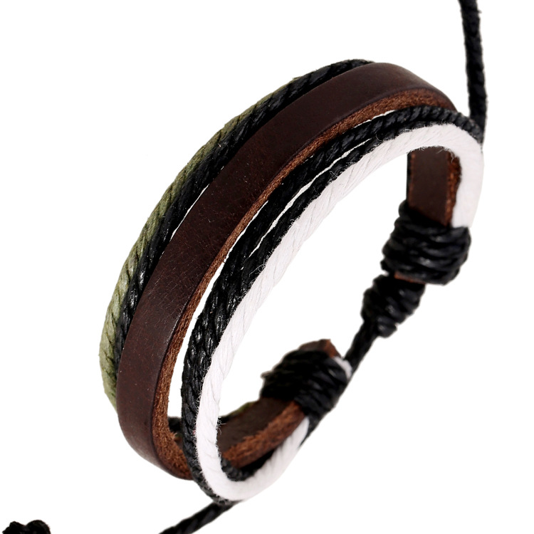 7 Style 2016 Hot Sale hand-woven Fashion Jewelry Genuine Leather Braided Rope Wristband Men Bracelets & bangles Gifts E0603