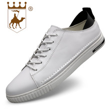 BACKCAMEL Genuine Leather Mens Shoes Casual Lace-up Board Round Toe Vulcanized Non-slip Breathable Large Size 38-45