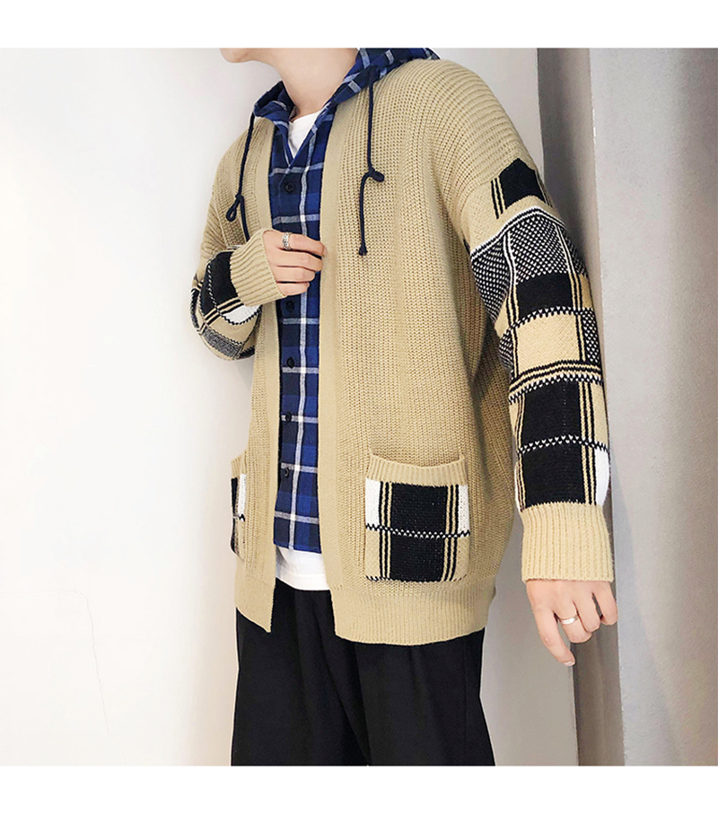 Korean Oversized Sweater Cardigan Men Plaid (12)