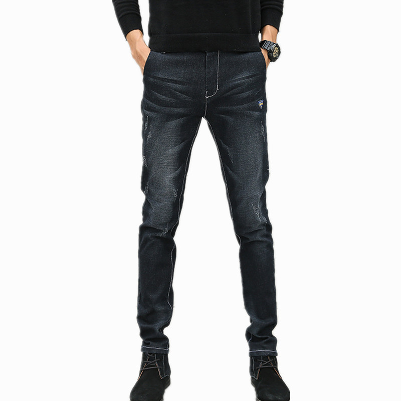 Men Jeans Business Casual Thin Summer Straight Slim Fit Blue Jeans Stretch Denim Pants Trousers Classic Cowboys Young Man