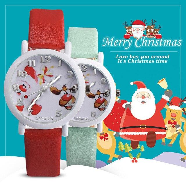 Fashion Chidren's Watches Christmas Animal Pattern Leather Band Analog Quartz Vo