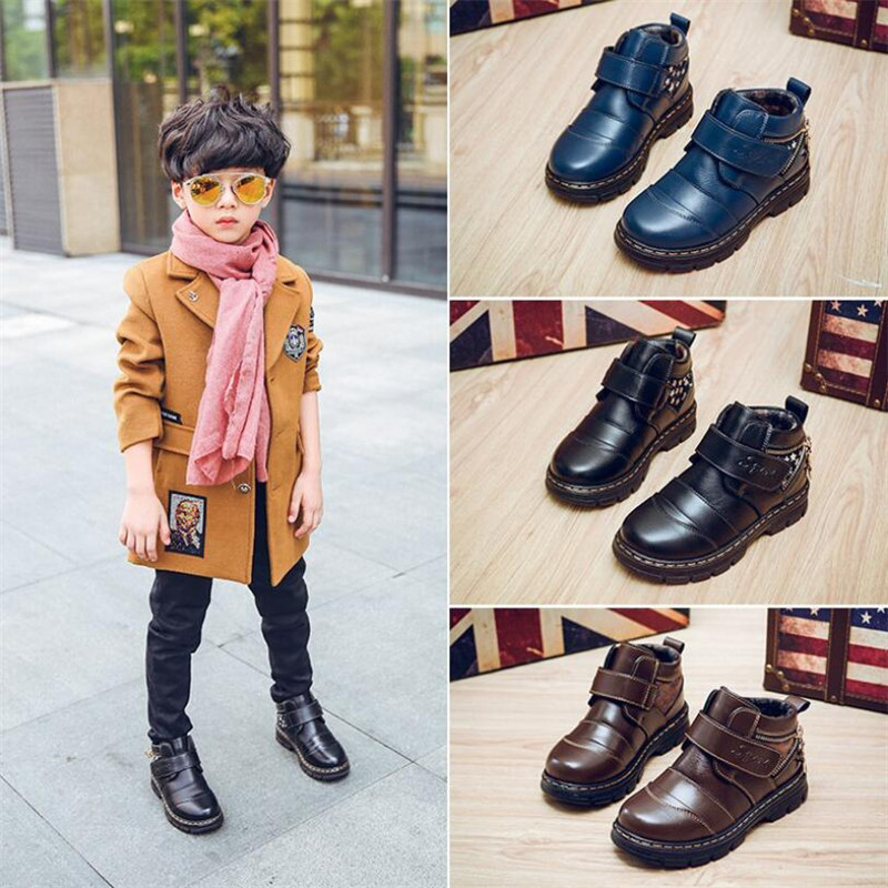 MHYONS 2018 New Winter Warm Kids Shoes For Boy Snow Boots Boys Martin Boots Children Teens Genuine Leather Casual Sneakers 26-37 kids freezing cold winter snow boots casual boys martin boots girls warm sneakers shoes fashion real leather children snow boots
