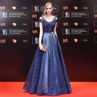 Синие длинные Red Carpet Знаменитости платье с блестками 2018 этаж Длина платье для выпускного вечера