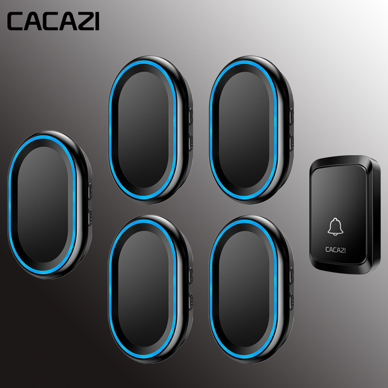 CACAZI Waterproof Home Wireless Intelligent Doorbell LED Night light bell 58 Chimes 300M Remote 1 Button 5 US EU Plug ReceiverCACAZI Waterproof Home Wireless Intelligent Doorbell LED Night light bell 58 Chimes 300M Remote 1 Button 5 US EU Plug Receiver
