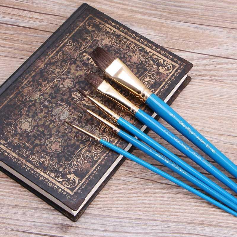 5 pces conjunto de escova de pintura a óleo de camelo cabelo aquarela acrílico desenho