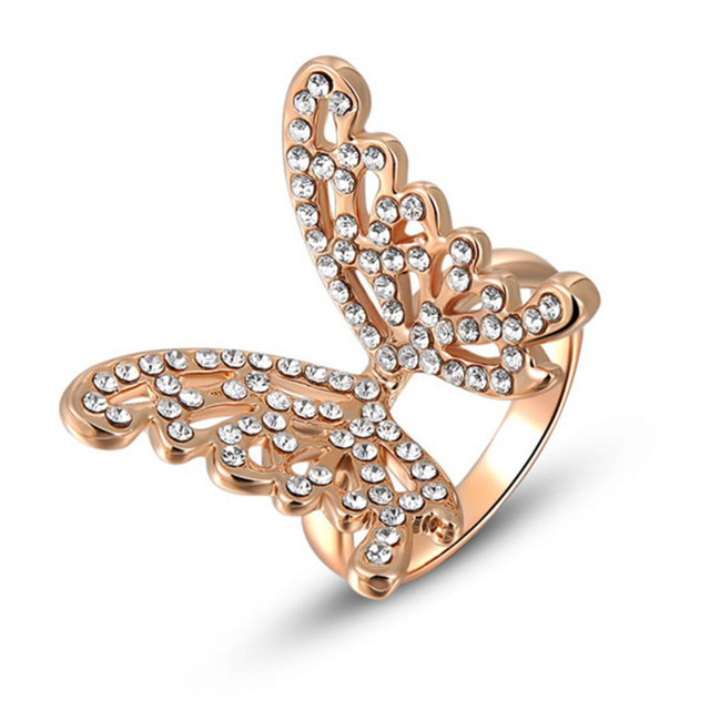Rose Gold Ring Filled With CZ Classic Beautiful Butterfly