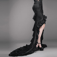 Punk Fashion Gothic Style Front Short Long Back Big Swing Skirt Steampunk Party Prom Women Sexy Fishtail Long Skirts