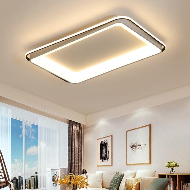 New White+Black Modern LED chandelier for living room bedroom dining room aluminum body Dimming home lighting luminarias dero-in Chandeliers from Lights & Lighting    1