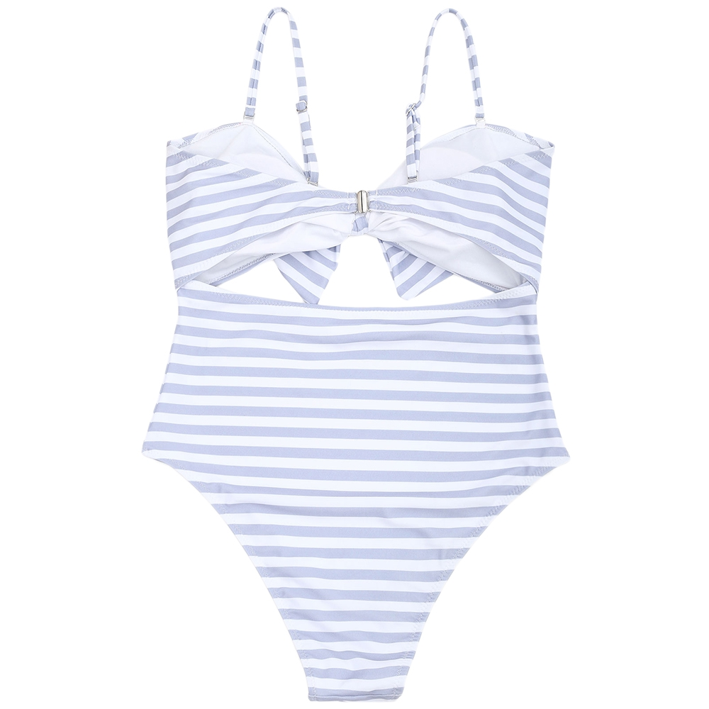 Striped Cutout Plus Size Swimsuit Printing Stripe Halter One Piece Swimsuit Women Bathing Suit ...