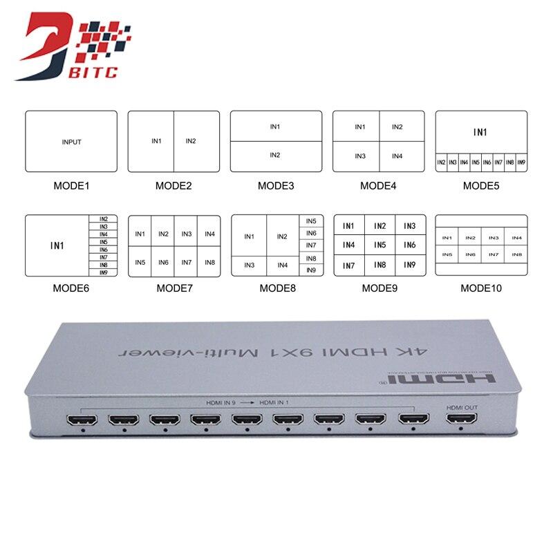 SZBITC 4K HDMI 9x1 Quad multi-viewer 9 en 1 sortie avec commutation sans soudure IR contrôle HDMI diviseur commutateur pour Camares