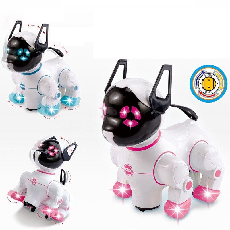 Animaux électronique Robot Chiens avec Musique Éclairage Écorce Se Lever Marcher Universel Roue Mignon Interactive Chien Jouets Électroniques Pour Enfants