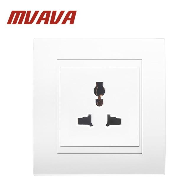MVAVA White PC Panel Multifunctional 16A 3 Pins Wall Socket ...