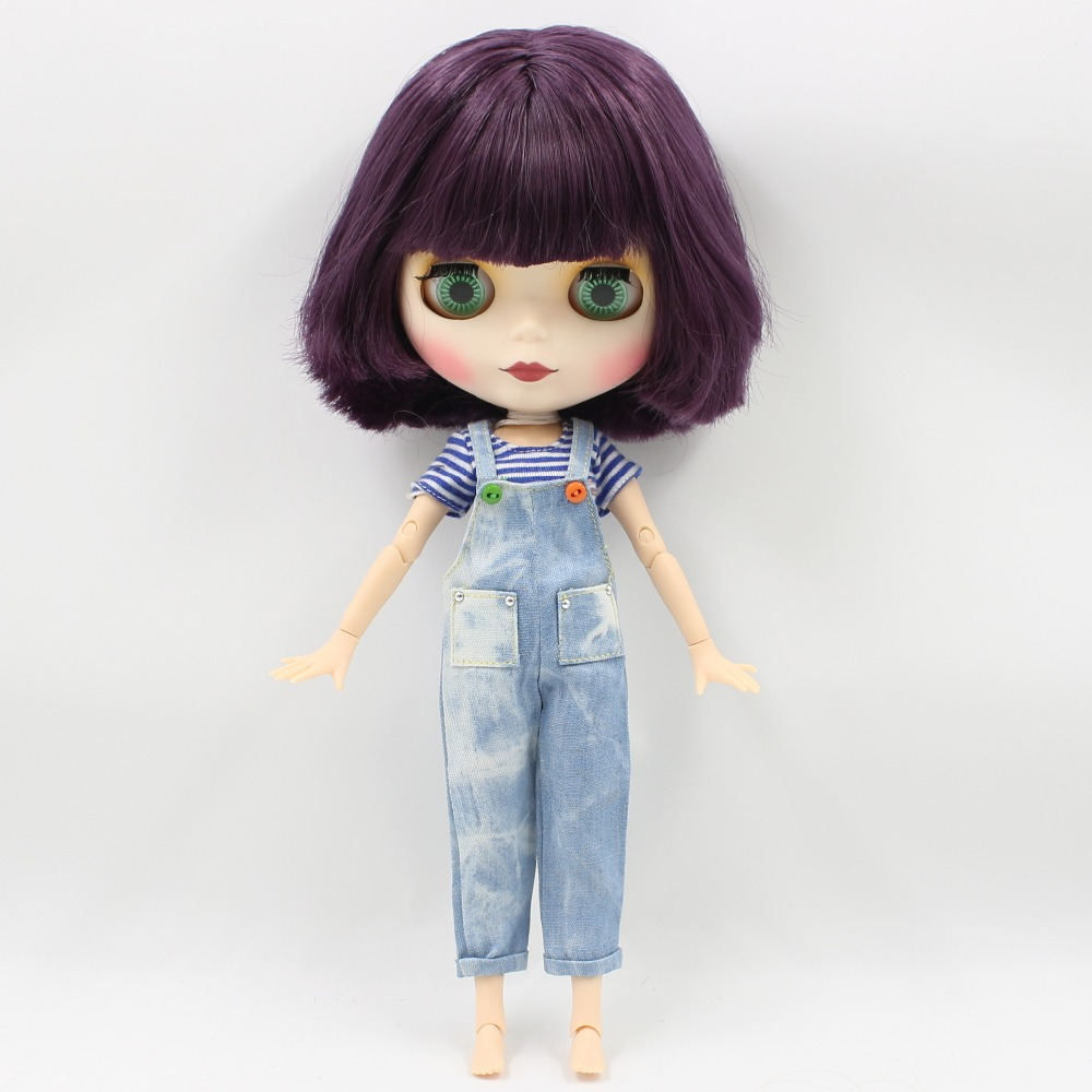 Neo Blythe Doll with Purple Hair, White Skin, Matte Face & Jointed Body 3