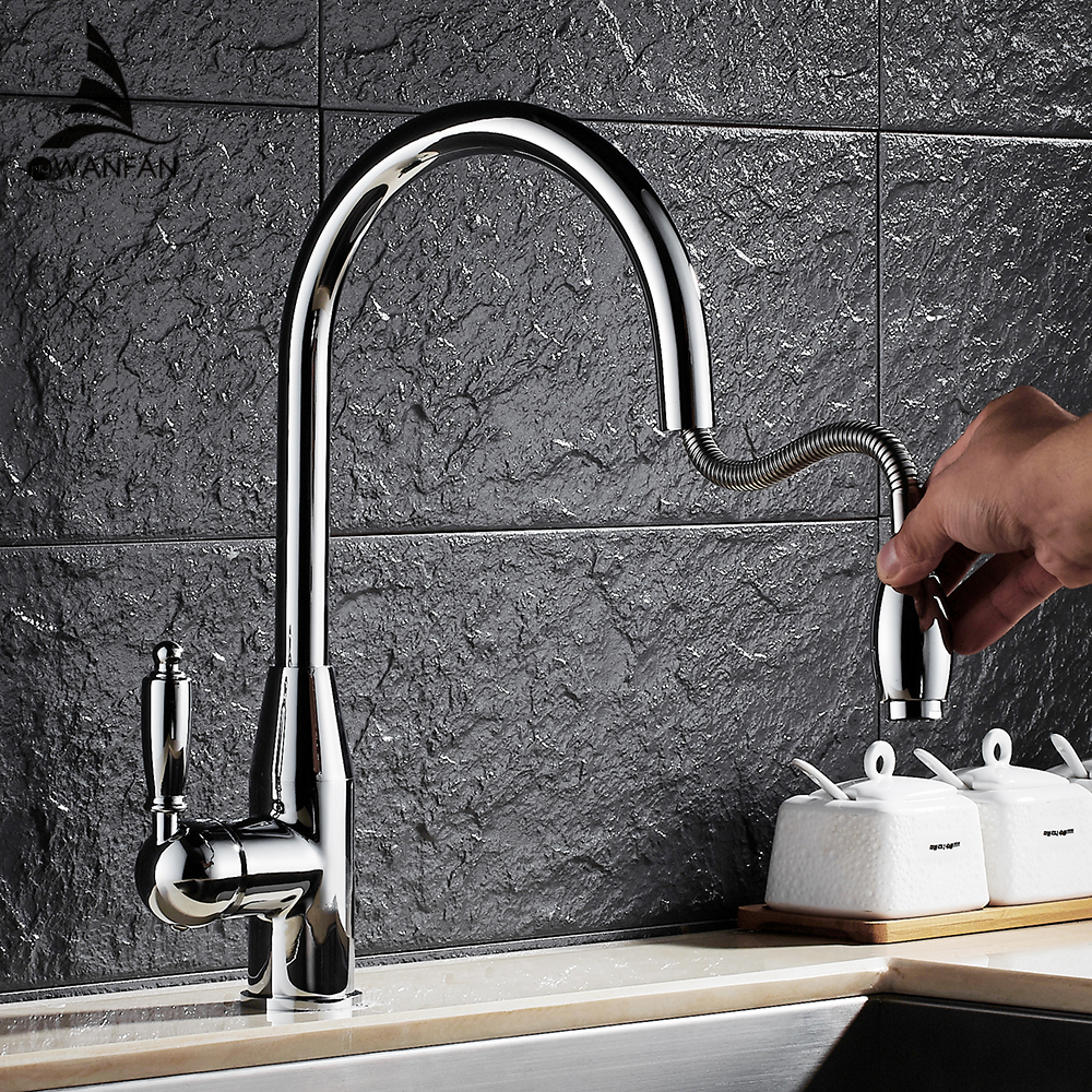 Modern New Chrome Kitchen Faucet Pull Out Single Handle Swivel Spout Vessel Sink Mixer Tap Hot and Cold Water Waterfall LH-6073L good quality chrome brass water kitchen faucet swivel spout pull out vessel sink single handle deck mounted mixer tap mf 376