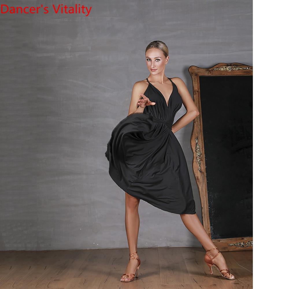 Fashion Women Latin Dance Training Clothes Black Lacing Backless Milk Fiber Dress Rumba Samba Foxtrot Dance Competition Garments