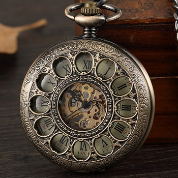 Vintage Hollow Bronze Mechanical Pocket Watch Men Skeleton Carving Steampunk Fob Hand Watch With Chain Necklace Women Men Gift