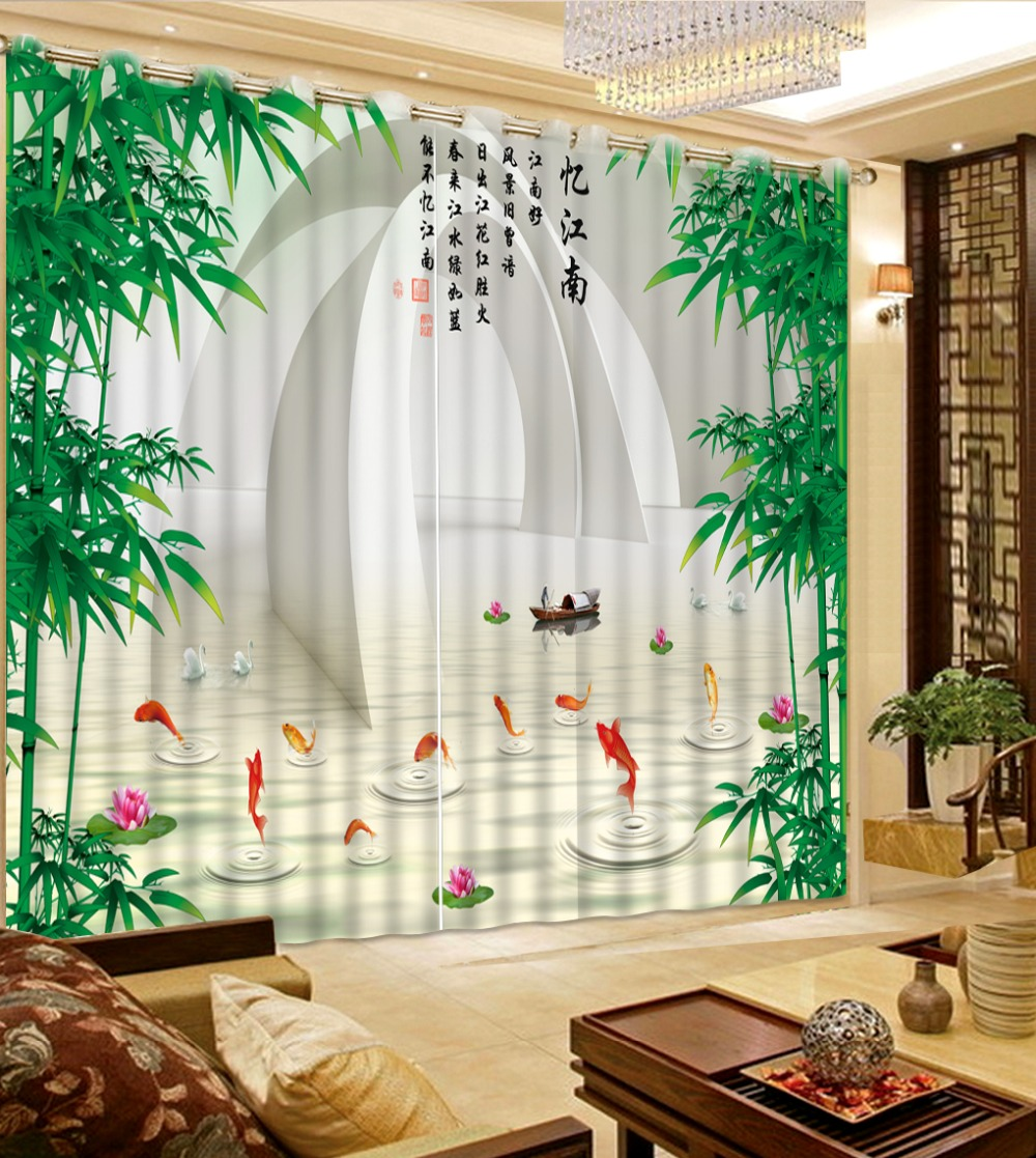Modern Chinese Kitchen Curtains Creative Space Small Gold Fish Polyester  Blackout Curtains For Bedroom Dreapes Cotinas