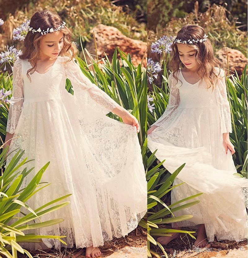 Ivory Lace   Flower     Girl     Dresses   Boho First Communion   Dress   For Little   Girl   V-Neck Long Sleeve A-Line Kids Wedding Party   Dress