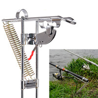 Automatic Double Spring Fish Rod Holder Stand Anti Rust Steel Fishing Pole Bracket