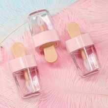 3,2x6,8 см миниатюрный блеск для губ в форме сладкого мороженого пустой контейнер для бальзама для губ с розовой крышкой резиновые вставки бутылка для образцов губной помады