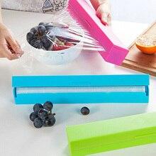 Dispensador de plástico Para Envolver Alimentos Película Conservante Aferran Cortador de Herramientas de Cocina Accesorios de Cocina Verduras Rollo Bolsas de Corte