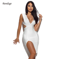 2018 New Women Summer Sleeveless Knitted Sexy Deep V Plunge Hollow Out Side Slit Bodycon Bandage Dress Cocktail Party Dresses