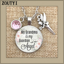 Grandma is my guardian angel, commemorating charm, in memory, losing grandma, the birthstone necklace