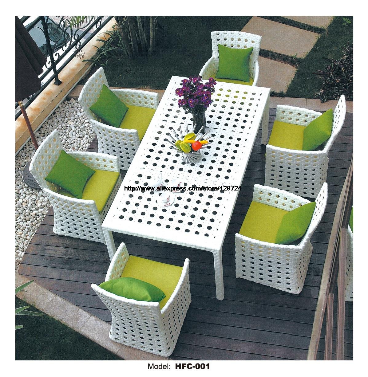 Modern White Rattan Table Chair Set 6 Piece Furniture Suite Outdoor Rattan Garden Beach Wicker Furniture Chair Table Set HFC001 circular arc sofa half round furniture healthy pe rattan garden furniture sofa set luxury garden outdoor furniture sofas hfa086