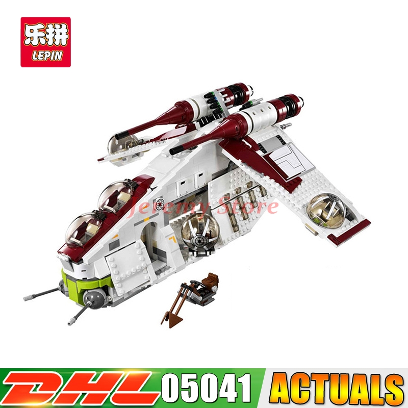 Lepin 05041 Star Genuine Wars Series The Republic Gunship Set Self-Locking Educational Building Blocks Brick Children Toys 75021 black pearl building blocks kaizi ky87010 pirates of the caribbean ship self locking bricks assembling toys 1184pcs set gift