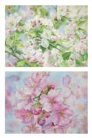 Chinese and Australia Artist Chao Tiejun's WorkSakura Watercolor Painting Japanese Style Wall Canvas Hand Painted Art Set