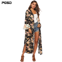 PGSD Autumn Big size women clothes Irregular Vintage flower printed Splice Side split Flare sleeve long cardigan Plus blouse 4XL недорго, оригинальная цена